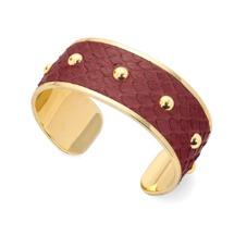 Athena Cuff Bracelet in Burgundy Python. Cuff Bracelets from Aspinal of London