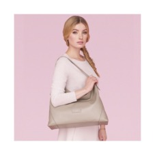 Hobo Bag in Fog Nubuck. Handbags & Clutches from Aspinal of London
