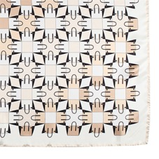 Marylebone Geometric Silk Scarf in Deer. Ladies Silk Scarves from Aspinal of London