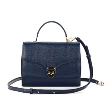 Mayfair Bag in Midnight Blue Lizard. Handbags & Clutches from Aspinal of London