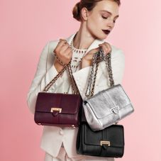 Lottie Bag in Smooth Metallic Silver. Handbags & Clutches from Aspinal of London