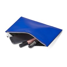 Large Essential Flat Pouch in Smooth Cobalt Blue. Evening & Clutches from Aspinal of London