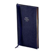 The Aspinal Social Diary in Midnight Blue Lizard. Slim Pocket Leather Diary from Aspinal of London