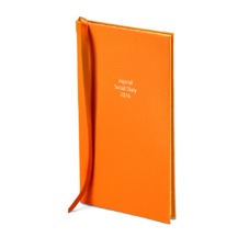 The Aspinal Social Diary in Smooth Amber. Slim Pocket Leather Diary from Aspinal of London