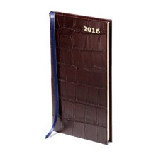 Slim Pocket Week to View Leather Diary in Amazon Brown Croc. Slim Pocket Leather Diary from Aspinal of London