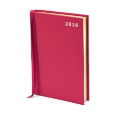 A6 Day per Page Leather Diary in Smooth Deep Fuchsia. Outlet from Aspinal of London