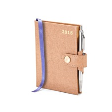 Mini Pocket Week to View Leather Diary with Pen in Deer Saffiano. Leather Pocket Diaries from Aspinal of London