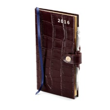 Slim Pocket Week to View Leather Diary with Pen in Amazon Brown Croc. Slim Pocket Leather Diary from Aspinal of London