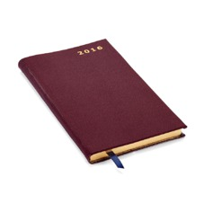 Slim Pocket Week to View Leather Diary in Burgundy Saffiano. Slim Pocket Leather Diary from Aspinal of London