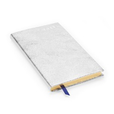 Slim Pocket Week to View Leather Diary in Smooth Metallic Silver. Slim Pocket Leather Diary from Aspinal of London