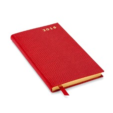 Slim Pocket Week to View Leather Diary in Berry Lizard. Slim Pocket Leather Diary from Aspinal of London
