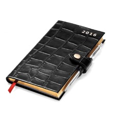 Slim Pocket Week to View Leather Diary with Pen in Black Croc. Slim Pocket Leather Diary from Aspinal of London