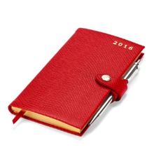 Slim Pocket Week to View Leather Diary with Pen in Berry Lizard. Slim Pocket Leather Diary from Aspinal of London