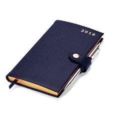 Slim Pocket Week to View Leather Diary with Pen in Midnight Blue Lizard. Slim Pocket Leather Diary from Aspinal of London