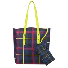 The être cécile Essential Tote in in Navy Plaid. Handbags & Clutches from Aspinal of London