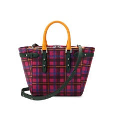 The être cécile Marylebone Mini Tote in Deep Fuchsia Plaid. Handbags & Clutches from Aspinal of London