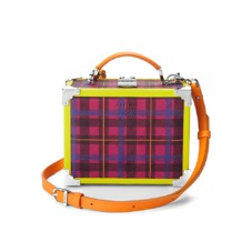 The être cécile Mini Trunk Clutch in Deep Fuchsia Plaid. Handbags & Clutches from Aspinal of London