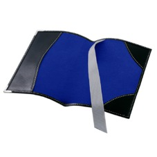 Plain Passport Cover in Smooth Black & Cobalt Blue Suede. Leather Passport Covers from Aspinal of London