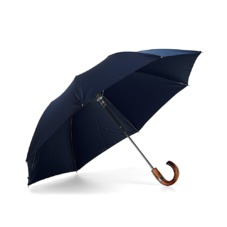 Mens Compact Umbrella with Wooden Handle in Navy Blue. Umbrellas from Aspinal of London