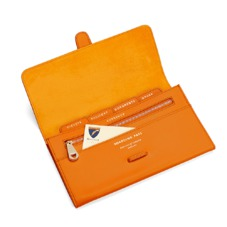 Classic Travel Wallet in Smooth Amber & Amber Suede. Outlet from Aspinal of London