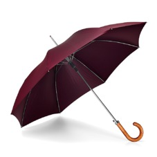 Mens Stand Up Automatic Umbrella with Wooden Handle in Burgundy. Umbrellas from Aspinal of London
