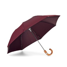 Mens Compact Automatic Umbrella with Wooden Handle in Burgundy. Umbrellas from Aspinal of London