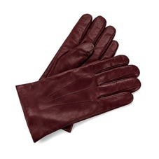 Men's Cashmere Lined Leather Gloves in Burgundy. Outlet from Aspinal of London