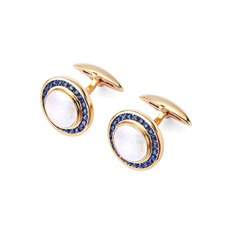 Round Mother of Pearl Cufflinks Gemset with Cluster Sapphire in 9ct Yellow Gold