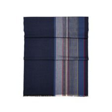 Sports Stripe Merino Wool Scarf in Navy. Mens Cashmere & Wool Scarves from Aspinal of London