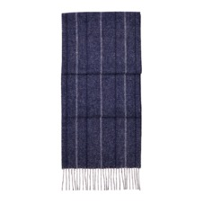 Large Herringbone Cashmere Blend Scarf in Navy. Mens Cashmere & Wool Scarves from Aspinal of London