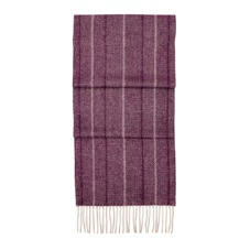 Large Herringbone Cashmere Blend Scarf in Burgundy. Ladies Cashmere Scarves from Aspinal of London
