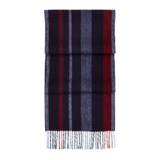 Herringbone Stripe Pure Cashmere Scarf in Navy. Mens Cashmere & Wool Scarves from Aspinal of London