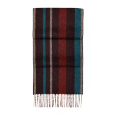 Herringbone Stripe Pure Cashmere Scarf in Burgundy. Mens Cashmere & Wool Scarves from Aspinal of London
