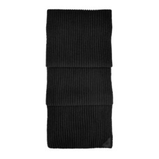 Rib Knit Cashmere Blend Scarf in Black. Ladies Cashmere Scarves from Aspinal of London