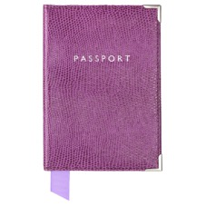 Plain Passport Cover in Violet Lizard. Leather Passport Covers from Aspinal of London