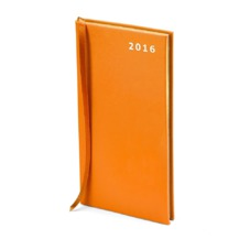 Slim Pocket Week to View Leather Diary in Smooth Amber. Slim Pocket Leather Diary from Aspinal of London