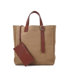 The 'A' Tote in Fog Nubuck & Smooth Tan. Mens Messenger Bags from Aspinal of London