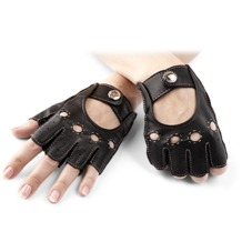 Ladies Fingerless Leather Driving Gloves in Black. Ladies Leather Driving Gloves from Aspinal of London