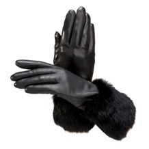 Ladies Fur Cuffed Gloves in Black. Outlet from Aspinal of London