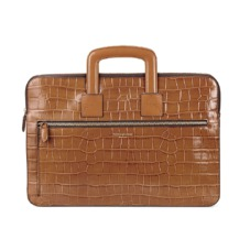 Connaught Document Case in Vintage Tan Croc. Ladies Business Bags from Aspinal of London