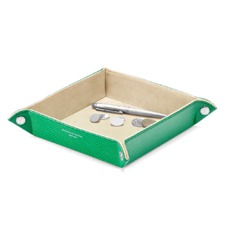 Medium Tidy Tray in Grass Green Lizard & Cream Suede
