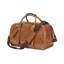 Small Harrison Weekender Travel Bag in Vintage Tan Croc. Mens Travel Bags from Aspinal of London