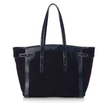 Marylebone Light in Navy Nubuck. Handbags & Clutches from Aspinal of London