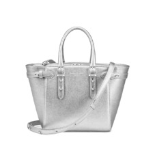 Mini Marylebone Tote in Silver Saffiano. Handbags & Clutches from Aspinal of London