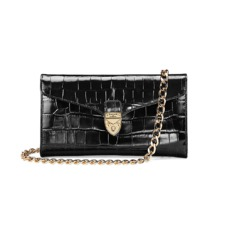 Mini Manhattan Clutch in Black Deep Shine Croc. Handbags & Clutches from Aspinal of London