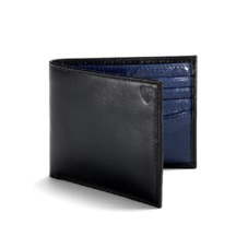 Exotic Billfold Wallet in Smooth Black with Cobalt Blue Snakeskin. Leather Billfold Wallets from Aspinal of London