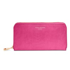 Continental Clutch Zip Wallet in Raspberry Lizard