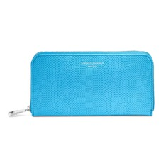 Continental Clutch Zip Wallet in Aquamarine Lizard