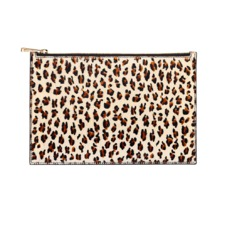 Large Essential Flat Pouch in Leopard Haircalf & Black Polish. Handbags & Clutches from Aspinal of London