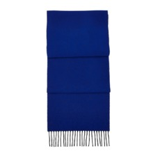 Reversible Cashmere Blend Scarf in Charcoal & Cobalt Blue. Mens Cashmere & Wool Scarves from Aspinal of London